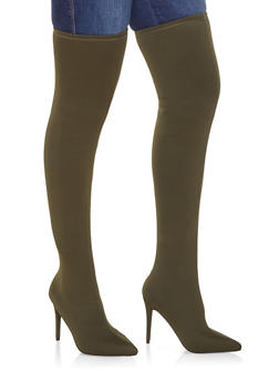 Over the Knee High Heel Boots - OLIVE - 3113014063334