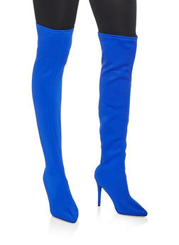 Over the Knee High Heel Boots - BLUE - 3113014063334