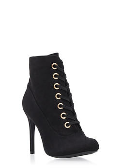 Lace Up Grommets High Heel Bootie - BLACK - 3113014063666