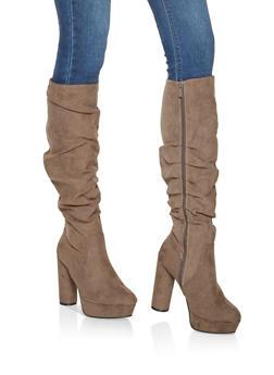 Ruched Cylinder Heel Platform Boots - TAUPE - 3113014064663