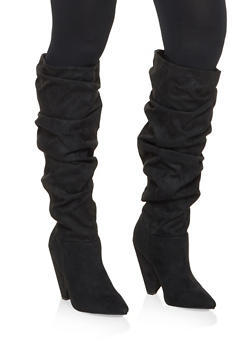 Pointed Toe Ruched Boots - BLACK SUEDE - 3113014064665