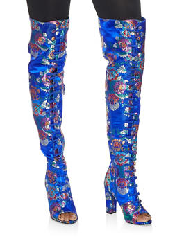 Elastic Band Printed High Heel Boots - BLUE - 3113014065466