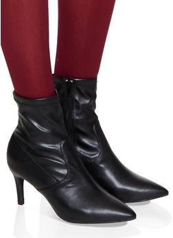 Pointed Toe Mid Heel Booties - 3113014065666