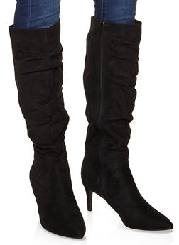 Ruched Knee High Boots - BLACK SUEDE - 3113014065669