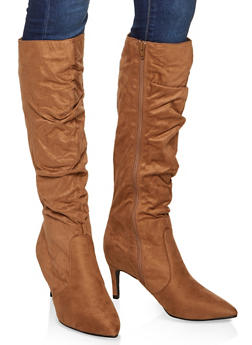 Ruched Knee High Boots - 3113014065669