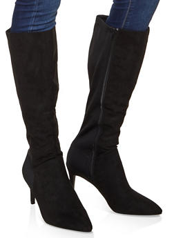Tall Pointed Toe Boots - BLACK SUEDE - 3113014065671