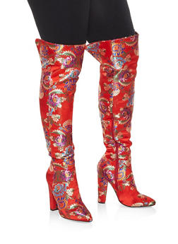 Printed Over the Knee High Heel Boots - RED - 3113014066236