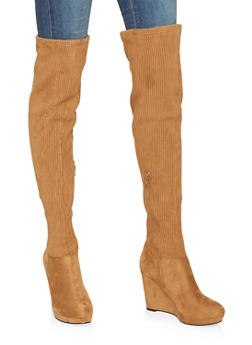 Ribbed Over the Knee Wedge Boots - 3113014066263
