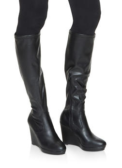 Tall Wedge Boots - BLACK - 3113014066264