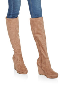 Tall Wedge Boots - Beige - Size 5.5 - 3113014066264