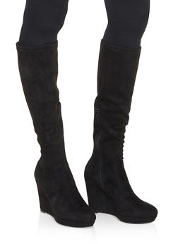 Tall Wedge Boots - BLACK SUEDE - 3113014066264