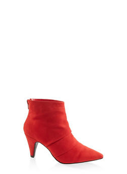 Pointed Toe Ruched Ankle Booties - 3113014067337