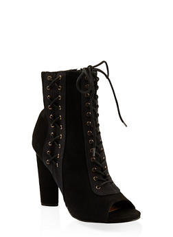 Lace Up High Heel Booties - BLACK - 3113014067873