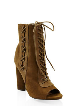 Lace Up High Heel Booties - 3113014067873
