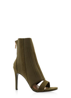 Stretch Knit High Heel Booties - OLIVE - 3113014068782