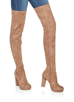 Platform Over the Knee High Heel Boots - CAMEL - 3113014068947