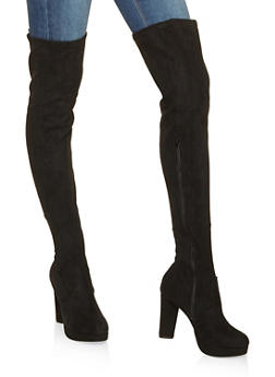 Platform Over the Knee High Heel Boots - BLACK SUEDE - 3113014068947