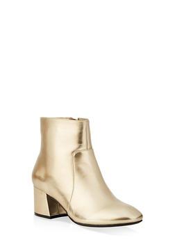 Side Zip Block Heel Booties - 3113014069474