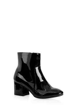 Side Zip Block Heel Booties - 3113014069474