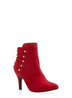 Studded Strap Mid Heel Booties - RED - 3113027616714