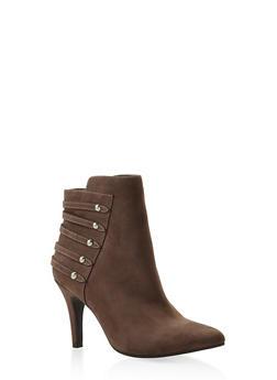 Studded Strap Mid Heel Booties - 3113027616714