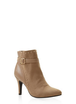 Side Buckle High Heel Booties - BEIGE - 3113027616716