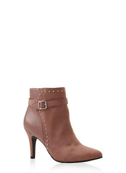 Side Buckle High Heel Booties - MAUVE - 3113027616716