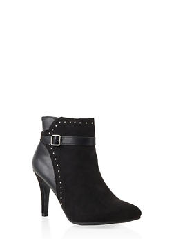 Side Buckle High Heel Booties - BLACK SUEDE - 3113027616716