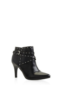 Studded Buckle Strap Mid Heel Booties - BLACK - 3113027617426