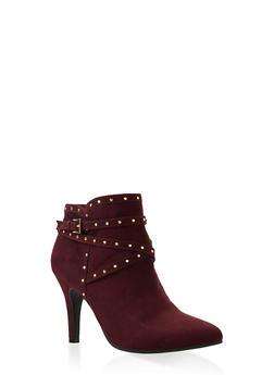 Studded Buckle Strap Mid Heel Booties - WINE - 3113027617426