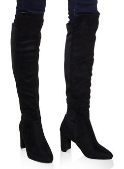 Pointed Toe Stretch Back Boots - BLACK SUEDE - 3113053872525