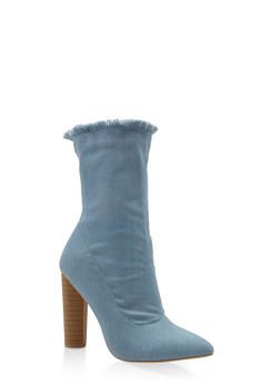 Frayed Denim Booties - 3113068262535