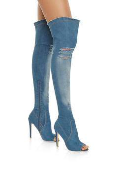 Frayed Denim Over the Knee Boots - 3113068264355
