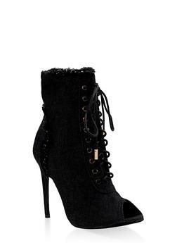 Lace Up Peep Toe High Heel Booties - BLACK DENIM - 3113068264456