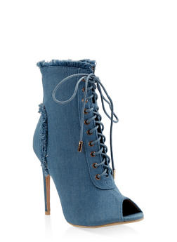 Lace Up Peep Toe High Heel Booties - 3113068264456