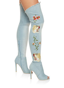 Embroidered Denim Peep Toe Over the Knee Boots - 3113068268678