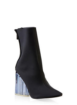 Lucite Block Heel Booties - 3113070962478