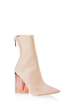 Lucite Block Heel Booties - PINK - 3113070962478