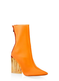 Lucite Block Heel Booties - ORANGE - 3113070962478