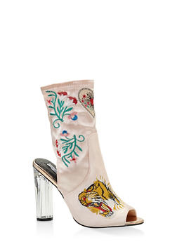 Embroidered Cut Out High Heel Booties - 3113070962666