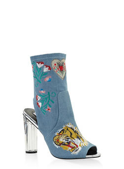 Embroidered Cut Out High Heel Booties - DENIM - 3113070962666