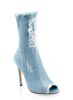 Denim High Heel Booties - 3113070963567