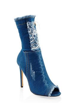 Denim High Heel Booties - BLUE - 3113070963567