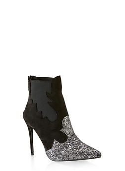 Two Tone Pointed Toe High Heel Booties - BLACK - 3113070964663