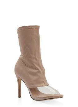 Clear Panel High Heel Booties - NUDE - 3113070965652