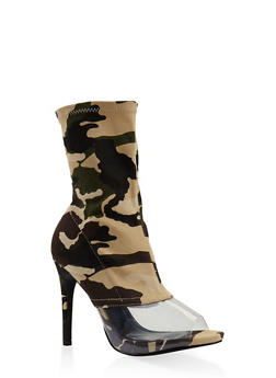 Clear Panel High Heel Booties - CAMOUFLAGE - 3113070965652