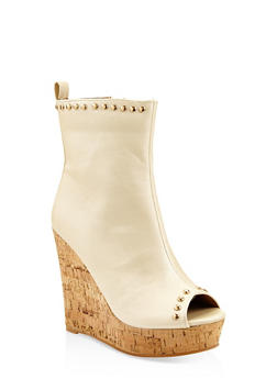 Studded Cork Platform Wedge Booties - NUDE - 3113070966223
