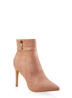 Studded Detail High Heel Booties - BLUSH - 3113073113364