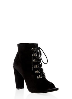 Lace Up High Heel Booties - BLACK - 3113073493562