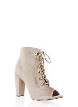 Lace Up High Heel Booties - BEIGE - 3113073493562